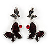 Burgundy Enamel Butterfly Drop Earrings