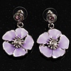 Lilac Enamel Flower Drop Earrings