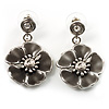 Grey Enamel Flower Drop Earrings