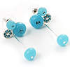 Aqua Blue Resin Bead Drop Earrings