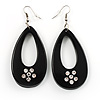 Black Plastic Teardrop Dangle Earrings