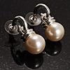 Silver Tone White Glass Bead Drop Earrings