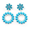 Oversized Turquoise Coloured Acrylic Drop Floral Earrings (Silver Tone)