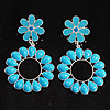 Oversized Turquoise Style Drop Floral Earrings (Silver Tone)