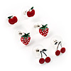 Silver-Tone Fruity Stud Earring Set (Apple, Strawberry & Cherry)