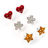 Silver-Tone Heart, Daisy & Star Stud Earring Set