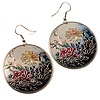 Japanese Style Floral Disk Earrings (Silver Tone)