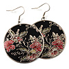 Japanese Style Floral Disk Earrings (Silver&Black)