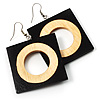 Cut-Out Square Wooden Drop Earrings (Dark Brown&Cream)