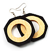 Two-Tone Octagonal Wood Drop Earrings (Dark Brown&amp;Cream)