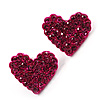 Deep Pink Swarovski Crystal Heart Stud Earrings