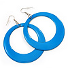 Large Light Blue Enamel Hoop Drop Earrings (Silver Metal Finish) - 6.5cm Diameter