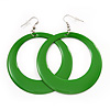 Large Grass Green Enamel Hoop Drop Earrings (Silver Metal Finish) - 6.5cm Diameter