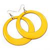 Large Bright Yellow Enamel Hoop Drop Earrings (Silver Metal Finish) - 6.5cm Diameter