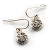 Silver Tone Crystal Smiling Face Drop Earrings