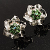 Textured Light Green Diamante Floral Stud Earrings (Silver Tone)