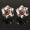 Textured Pink Diamante Floral Stud Earrings (Silver Tone)