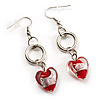 Red Heart Glass Drop Earrings