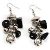 Black Glass Bead Drop Earrings (Silver Tone)