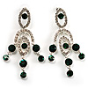 Stunning Emerald Green Swarovski Crystal Chandelier Earrings (Silver Tone)