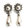 Bridal Simulated Pearl Drop Earrings (Silver Tone)