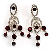 Stunning Burgundy Red Swarovski Crystal Chandelier Earrings (Silver Tone