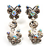 Clear Crystal Butterfly Drop Earrings (Silver Tone)