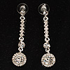 Stylish Clear Crystal Drop Earrings (Silver&amp;Clear)