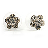 Tiny Diamante Floral Stud Earrings (Silver&Clear)