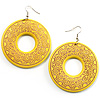 Bright Yellow Large Ornate Wood Drop Hoop Earrings