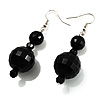 Black Acrylic Bead Drop Earrings (Silver Tone)