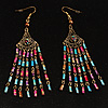 Long Multicolour Bead Dangle Earrings (Antique Gold)