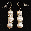 Light Cream Freshwater Pearl Crystal Drop Earrings (Silver Tone)