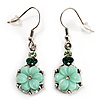 Pale Green Acrylic Crystal Floral Drop Earrings (Burnished Silver Finish)