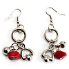Silver Tone Charm Drop Earrings (Red)