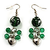Green Glass Bead Drop Earrings (Silver Tone)