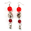 Carrot Red Acrylic Drop Earrings (Silver Tone)