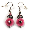 Vintage Pink Crystal Flower Drop Earrings (Burnished Silver Tone)