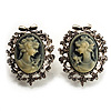Classic Cameo CZ Clip-On Earrings (Silver Plated)