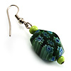 Green Floral Resin Drop Earrings (Silver Tone)