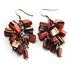 Coral Pink Shell Composite Cluster Dangle Earrings (Silver Tone)