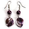 Purple Shell Bead Drop Earrings (Silver Tone)