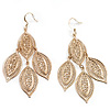 Gold Tone Filigree Leaf Drop Earrings - 8cm Drop