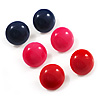 Set Of 3 Button Shaped Stud Earrings - 2cm Diameter (Blue, Red And Pink)