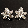 Crystal Leaf Stud Earrings (Silver Tone)