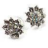 Clear Crystal Floral Stud Earrings - 18mm Diameter