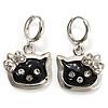 Cute Black Enamel Kitten Drop Earrings (Silver Tone)