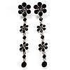 Long Statement Floral Dangle Earrings (Silver&Jet Black) -7cm Drop