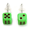 Tiny Bright Green Plastic Dice Stud Earrings (Silver Tone) -5mm Diameter