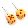 Tiny Yellow Plastic Dice Stud Earrings (Silver Tone) -5mm Diameter